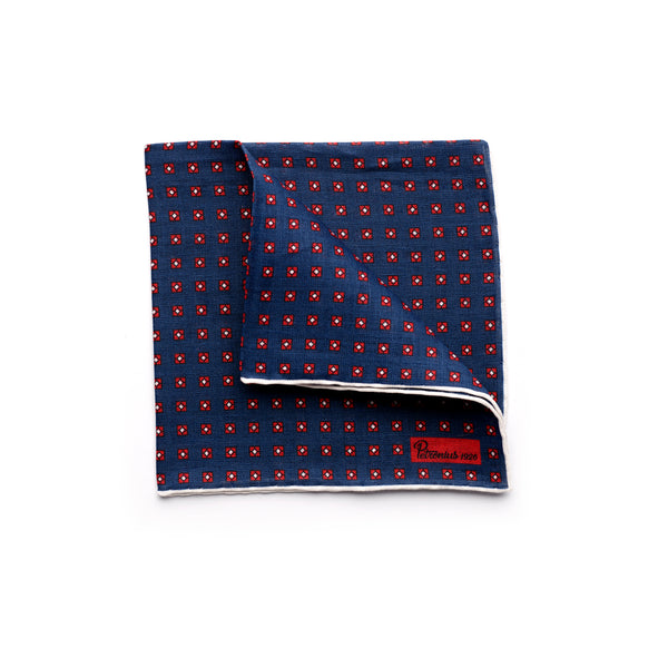 The Merchant Fox Petronius Luxury Handrolled 100% Linen Pocket Square Handprinted Vintage Pattern