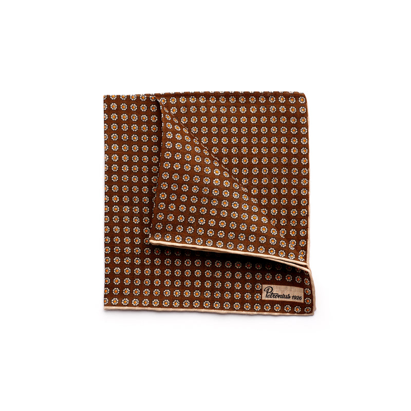 The Merchant Fox Petronius Luxury Handrolled 100% Linen Pocket Square Printed miniature Brown floral