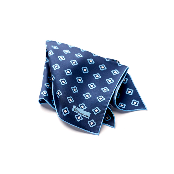 The Merchant Fox Petronius 100% handrolled Pocket Square Silk Navy and Aqua Geometric Floral Pocket Square