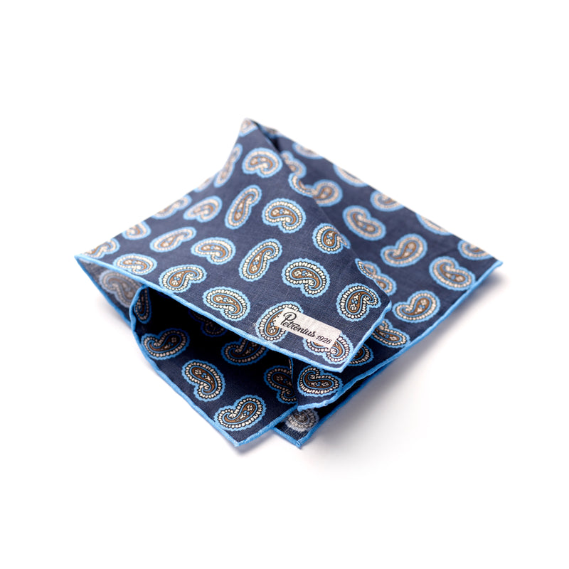 The Merchant Fox Petronius Luxury Handrolled 100% Linen Pocket Square Handprinted Navy Paisley