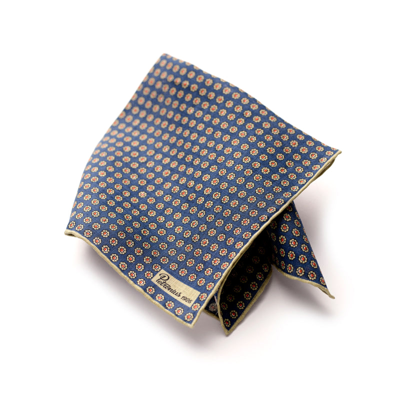 The Merchant Fox Petronius Luxury Handrolled 100% Linen Pocket Square Handprinted Vintage Miniature Floral Pattern
