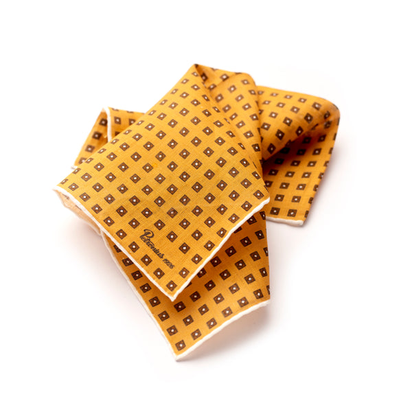 The Merchant Fox Petronius Luxury Handrolled 100% Linen Pocket Square Handprinted Sunshine Yellow Miniature Pattern