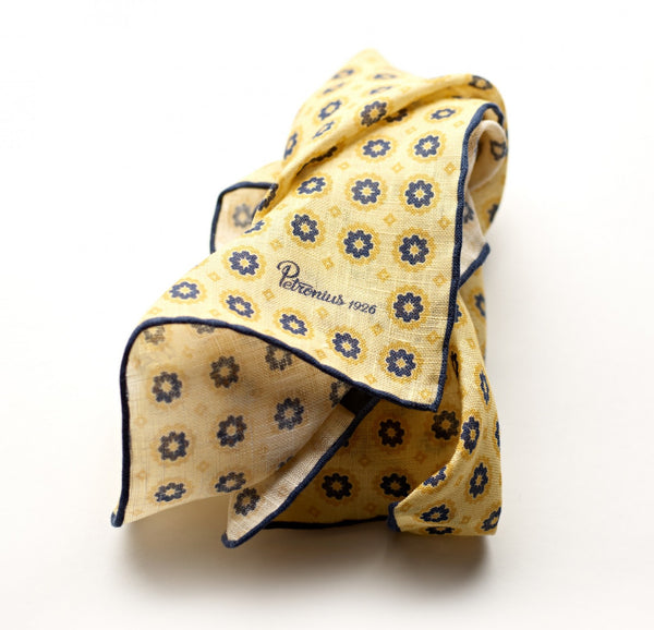 Petronius Beach Floral Golden Pocket Square