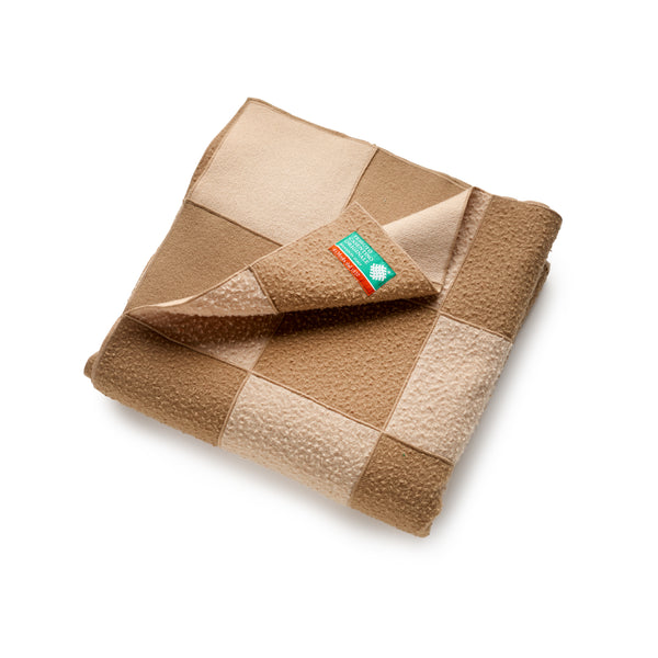 Caramel Small Wool Patchwork Blanket