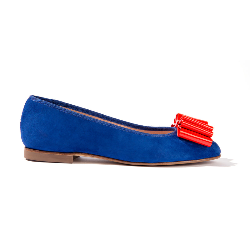 Blue suede ballet flats with orange bow