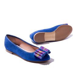 Blue suede ballet flats with hand-embroidered bow