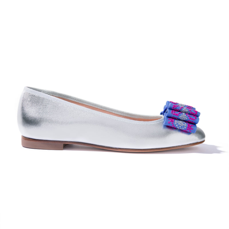 Silver leather ballet flats with hand-embroidered bow