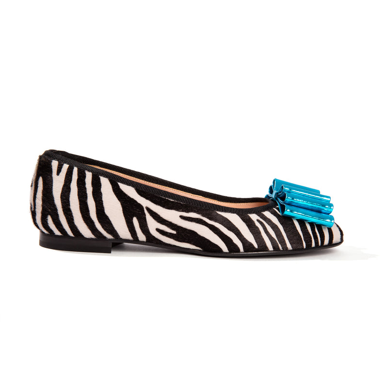 Faux zebra ballet flats with turquoise bow