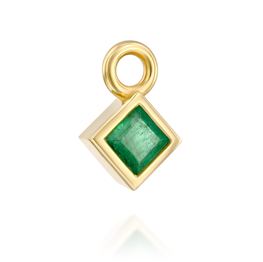 Emerald pendant - princess shaped