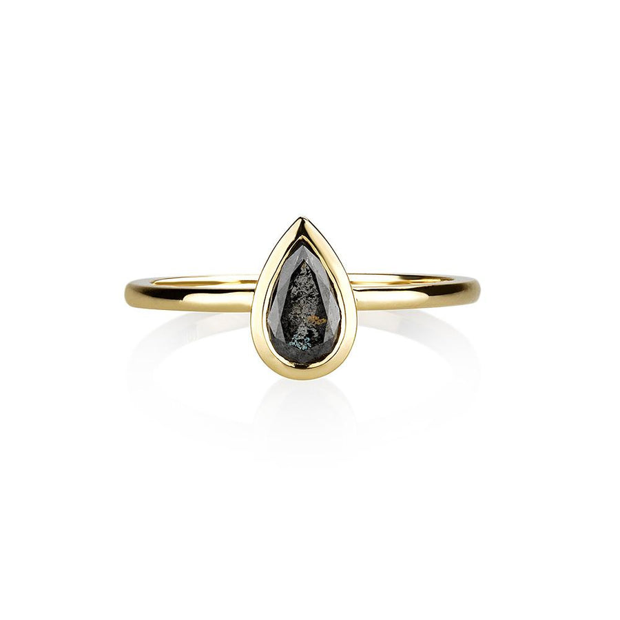 Gray pear shaped ring
