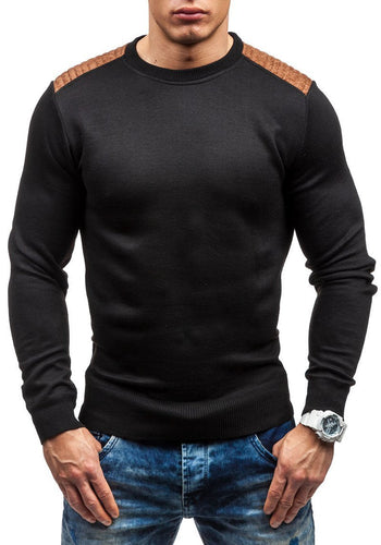 Suede Patch Slim Sweater