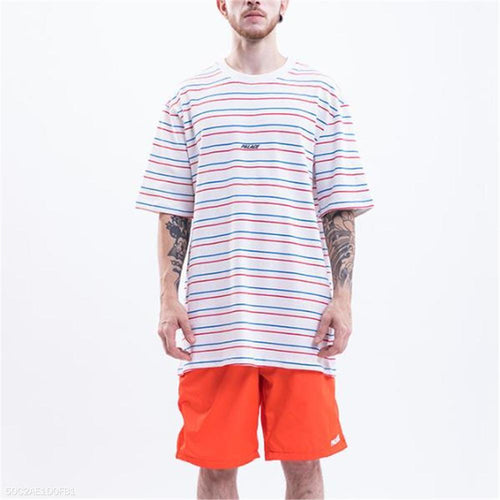 Fashion Men's Loose Strip Round Neck Short Sleeve Top