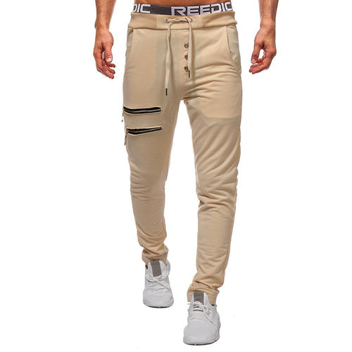 Zippered Decorative Slim Men's Trousers