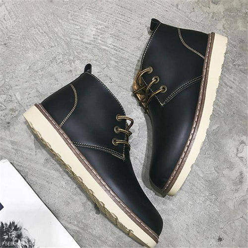 Fashion Mens Casual Plain Shoelace Tube Leather Shoes