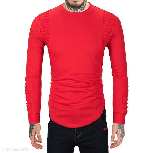 Men's Pleated Casual Long Sleeve
