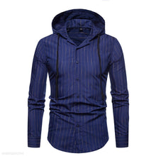 Load image into Gallery viewer, Vertical Striped Hooded Long-Sleeved Shirt 5 Colors