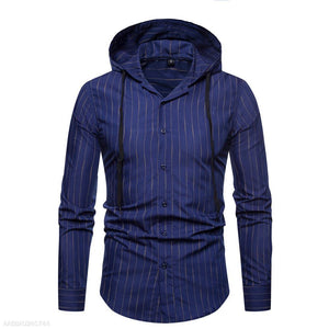 Vertical Striped Hooded Long-Sleeved Shirt 5 Colors