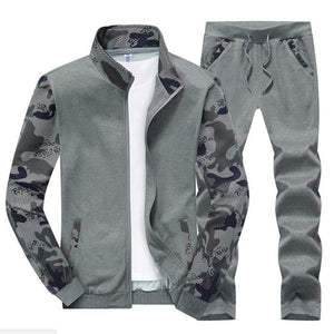 Men Stand Collar Camouflage Sport Suits