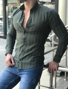 Fashion Lapel Stripe Button Shirt