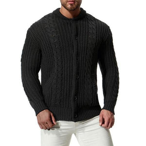 Casual Fashion Mens  Thermal Button Long Sleeve Sweater Outerwear