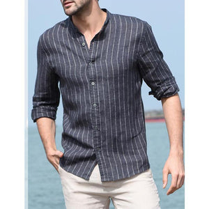 Mens Flax Striped Shirt