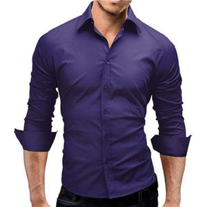 Solid Color Simple Fashion Slim Long-Sleeved Shirt