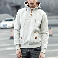 Load image into Gallery viewer, Mens Plain Pullover Button Hoodie