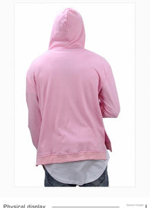 Lovely Pink Distressed Hole Couple Hoodie