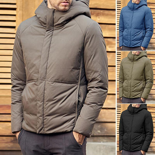 Fashion Mens Solid Color Hoodie Cotton Outerwear