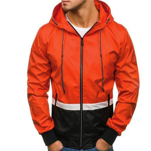 Casual Fashion Loose Color Block Long Sleeve Men Outerwear
