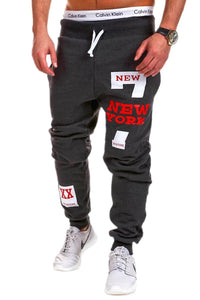NEW YORK Letter Hip Hop Print Design Men's Casual Pants