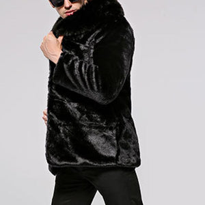 Men's Suede Leather Faux Fur Winter Coat