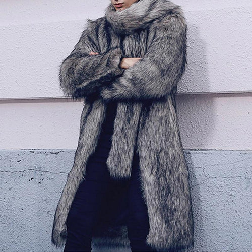 Faux Fur Fox Fur Warm Lapel Men's Casual Coat