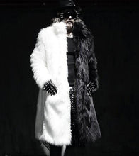 Load image into Gallery viewer, Fashion White Black Split Joint Faux Fur Long Coat