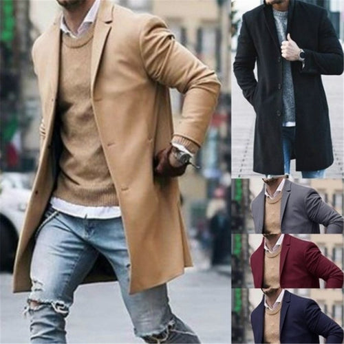 Pure Color Fashion Long Sleeve Coat