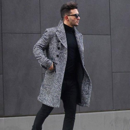 Fashion Lapel Plain Thicken Business Woolen Long Coat