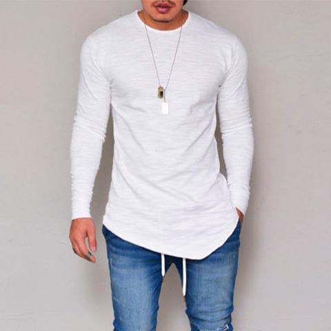 Casual Solid Color Round Neck   Long Sleeve T-Shirt