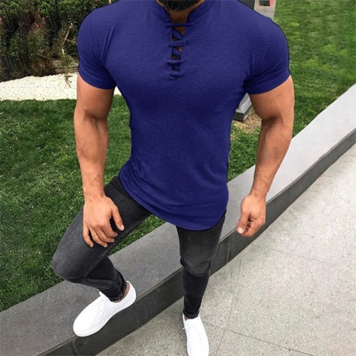 Men's Fashion Stand Collar Short Sleeve T-Shirt