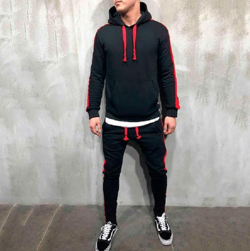 Hooded Strip Solid Color Sports   Hoodie Casual Set