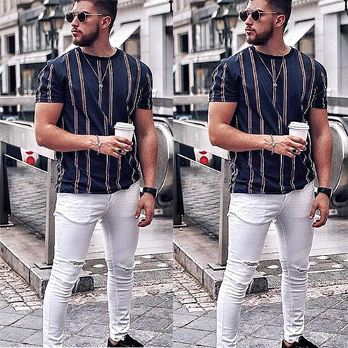 New Fashion Popular Round Neck Striped T-Shirt
