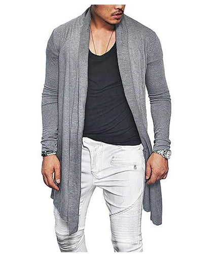Long-sleeved sweater men's solid color long knit jacket