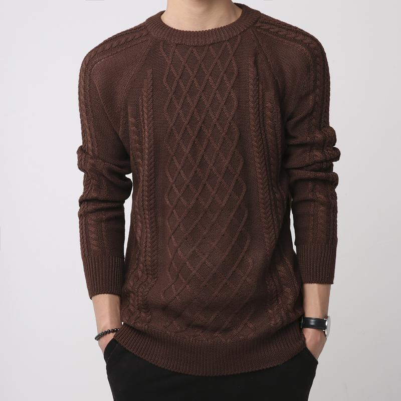 Men's solid color pullover round neck fashion sweater