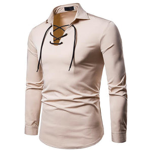 Men's Shoelace Design Solid Color Long-Sleeved Shirt