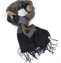 Load image into Gallery viewer, Yarn-dyed acrylic striped double-sided tassel scarf