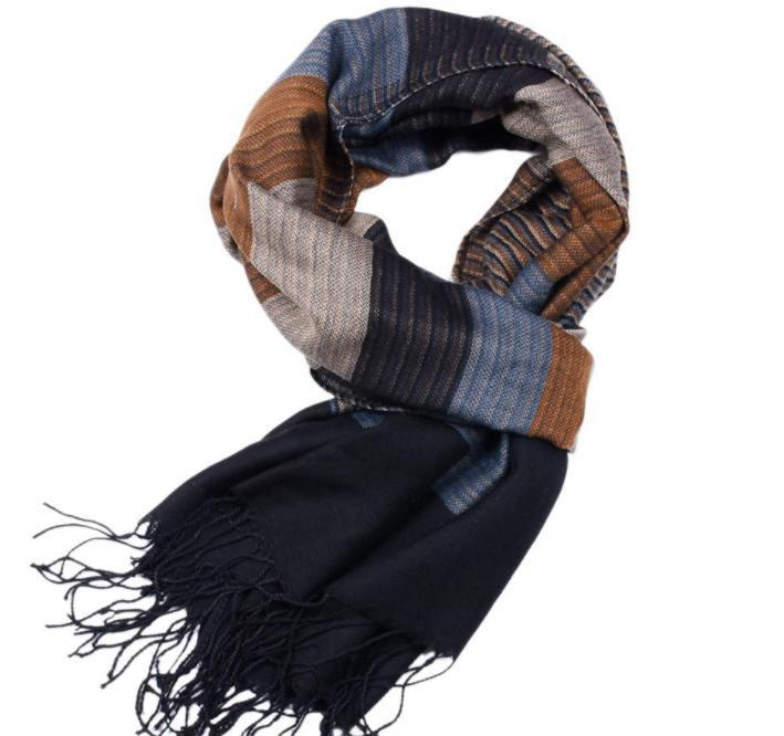 Yarn-dyed acrylic striped double-sided tassel scarf