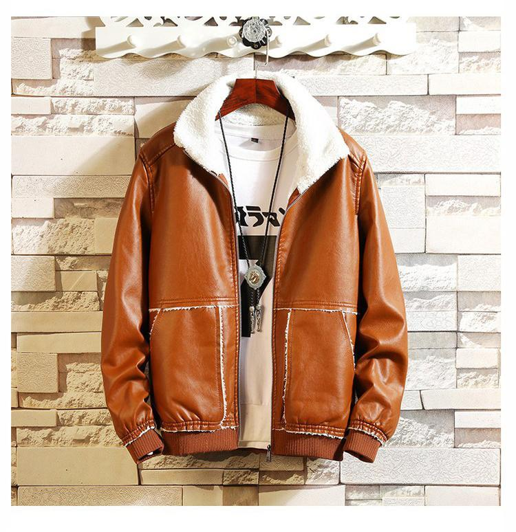 Men Casual Thermal Stand Collarfaux Leather Coat