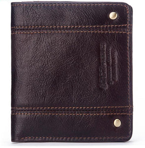 Thin leather men's short wallet
