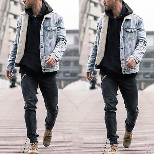 Plus Velvet Denim Jacket Thick Jacket Imitation Lamb Cotton Coat Cotton Clothing