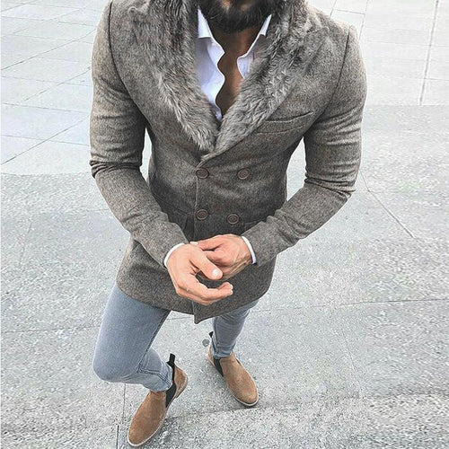 Solid Color Casual Slim Wool Coat