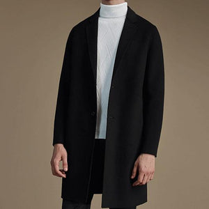 Chic Fashion Lapel Plain Shoulder Padding Long Sleeves Long Coat